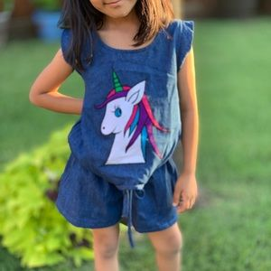 Jeans romper with unicorn patchwork